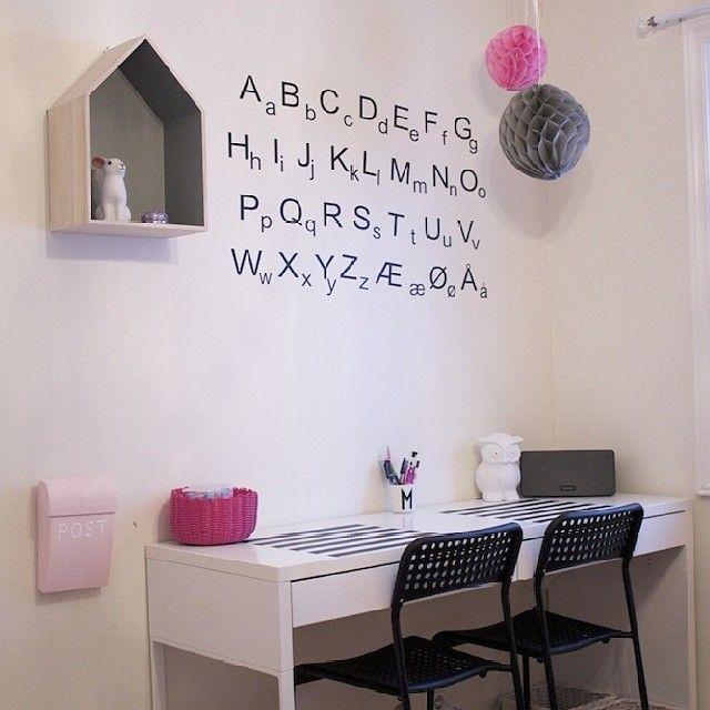 Nytt rom på bloggen! www.lykkemamma.blogg.no #wallsticker og #hushylle fra frkjensensdeko #wallstickersdeluxe kids desk area, alphabet wall sticker, pompoms