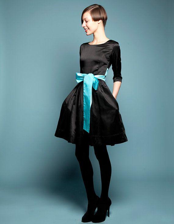 Black robe de Cocktail noir des années 50 robe style années 50 années 1950 robe de soirée noir Prom robe noir robe de Cocktail Plus taille robe de Cocktail avec noeud