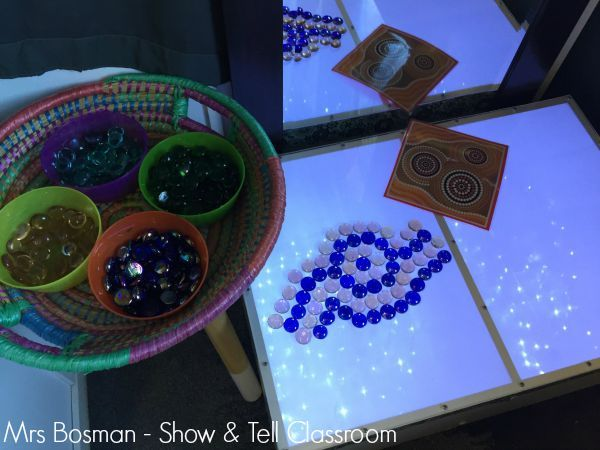 Show and Tell Classroom - Aboriginal dot art on the light table. Image credit - Francis Bosman