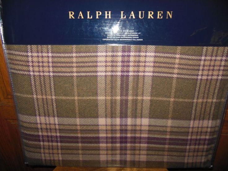 RALPH LAUREN - GREAT COMPTON OLIVE PLAID RUSTIC QUEEN BLANKET #LAURENRALPH