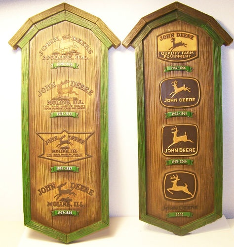 JOHN DEERE Wall Plaques NEW Set of 2 Throughout the Years Tractor Farm Farmer