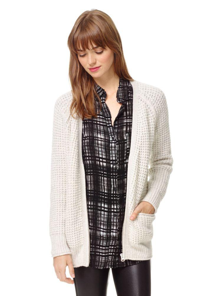 WILFRED FREE MARIN CARDIGAN - A seriously soft waffle-stitch cardigan in cozy wool and alpaca #ARITZIACLEANSLATE