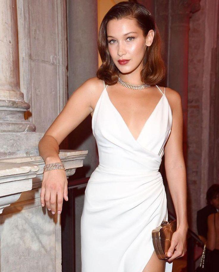 Bella Hadid. Old Hollywood glam look.