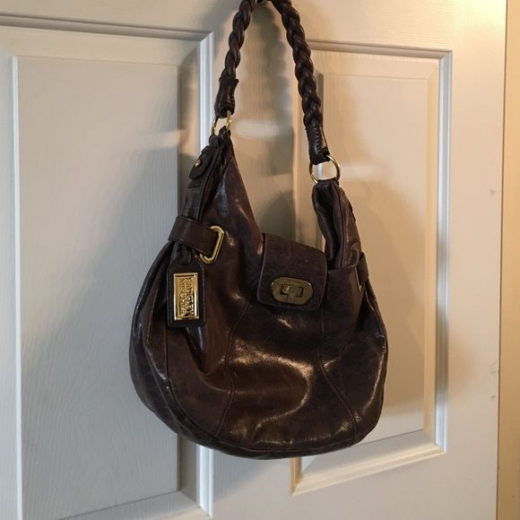 Brown shoulder bag with messenger strap Versatile brown shoulder bag Badgley Mischka Bags Shoulder Bags