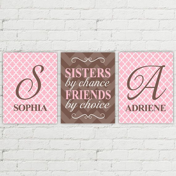 Sisters by chance friends by choice - twin girls nursery quote - pink and brown - sisters wall art decor - sisters room art - twin gift