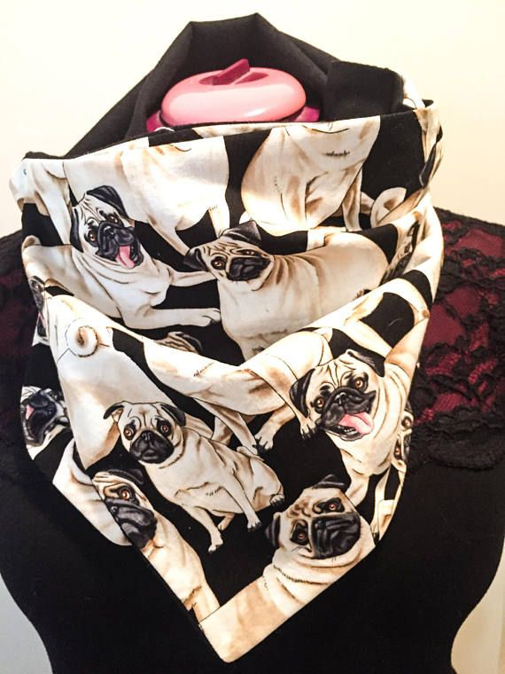 Gift for her / dog lover / Pug thug life scarf  button up cowl