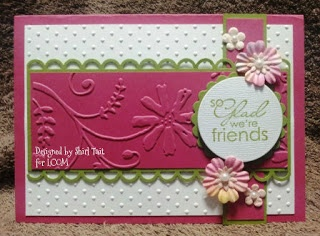Embossing, border punch, stamps, flowers