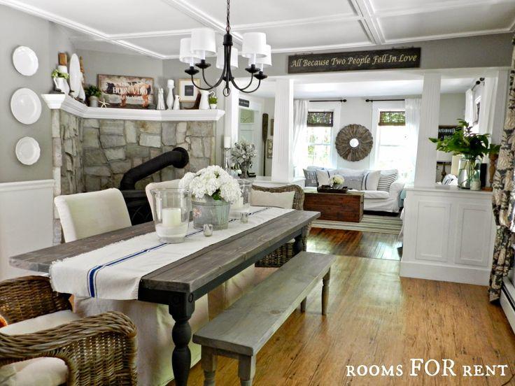 Farmhouse Dining Room White Columns Woodsmoke Grey Paint