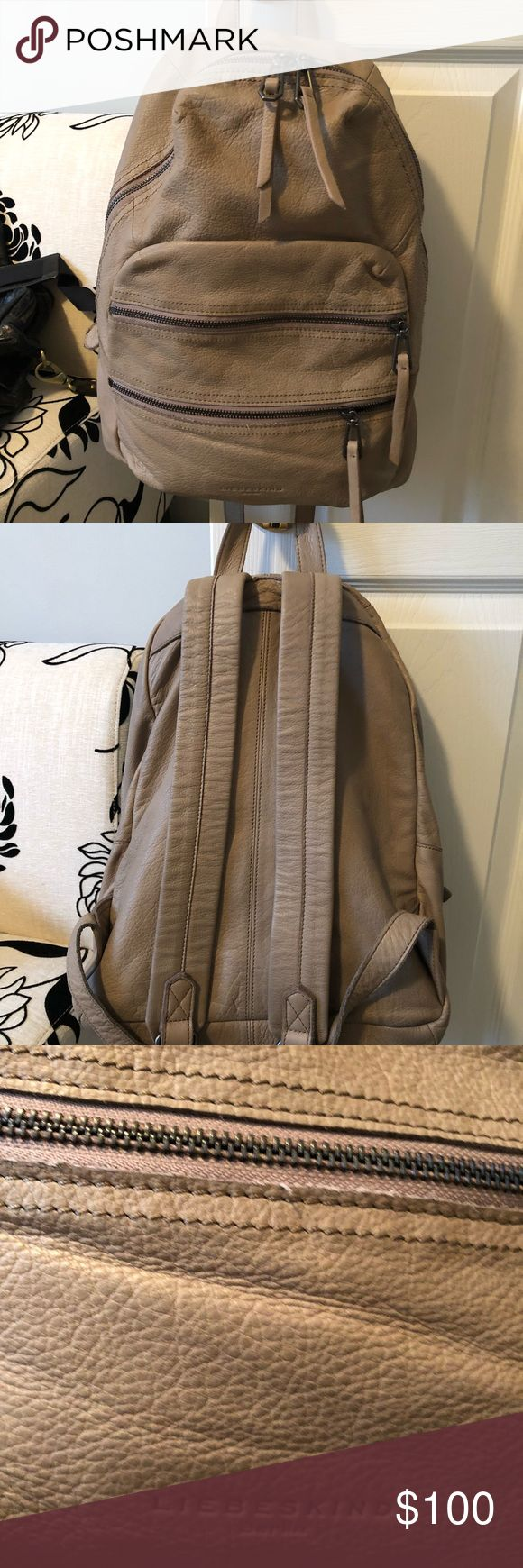 Liebeskind unisex backpack Beige leather and lined backpack with three zippered opening and pockets inside.  Has an iPad or tablet pocket too.  Great for traveling but only used a few times. Smoke and pet free!  Dimensions are 17 x 14 x 6. Liebeskind Bags Backpacks