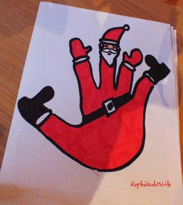 TUTO DIY - idée de dessin de Noël pour les enfants : faire un père noël avec le contour de sa main !!!