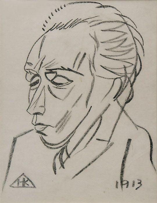 Николай Кульбин. Портрет Велемира Хлебникова. 1913