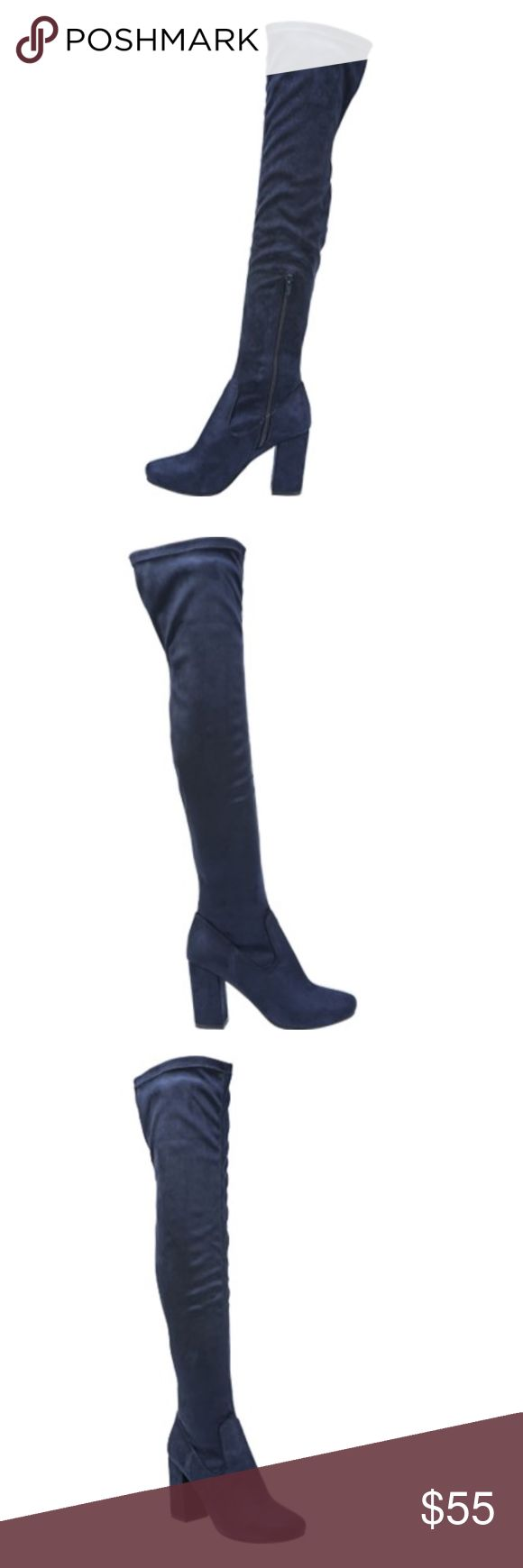 """Carlos Santana Rumer Hawa Over the Knee Boot Navy NEW IN BOX!     Size 7.5 Color: Navy  Soft faux suede creates comfortable wear on a striking over-the-knee boot.    DETAILS:  - Round toe   - Solid vamp  - Side zipper closure  - Wrapped block heel  - Approx. 17.5"""" shaft height, 14"""" opening circumference  - Approx. 3.25"""" heel - Imported Carlos Santana Shoes Ankle Boots & Booties"""