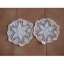 Lot Napperon Crochet -Réf0720 -Diamètre 18 -5.00 Euros -Blanc Cassé