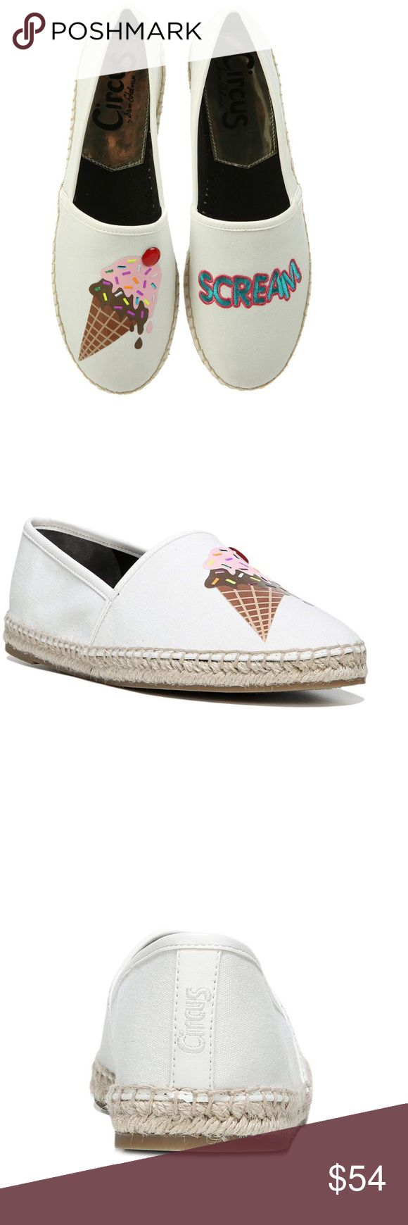 "🎸NWT🎸Sam Edelman Circus Ice Cream Espadrilles Bright white Ice ""Scream"" Leni espadrille. Slip on espadrille boasting old graphics for a pop of personality. Slip-on, man made upper, rubber sole. Sam Edelman Shoes Espadrilles"