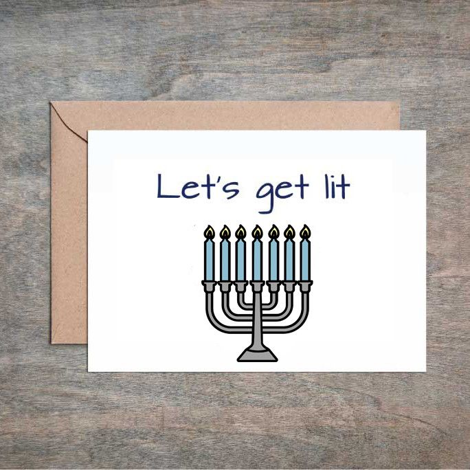 Let's Get Lit. Funny Hanukkah Card. Funny Holiday Card. Sarcastic Holiday Card. Menorah.