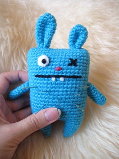 Ugly bunny pincushion and bag charm (with patterns) - CROCHET