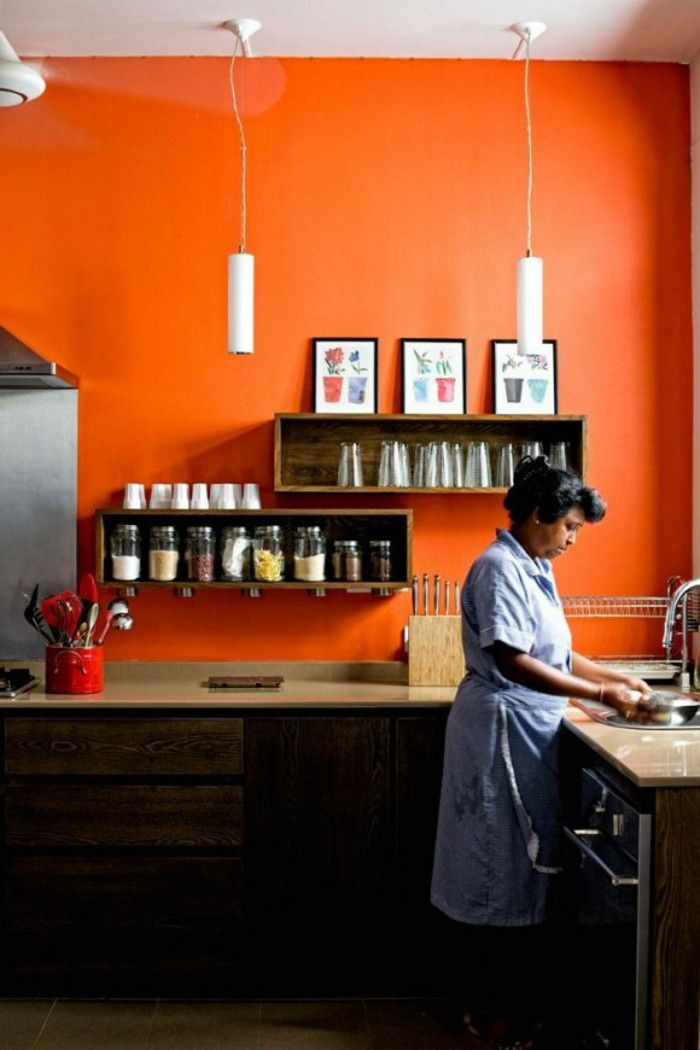 Walls painting ideas Orange kitchen open shelves pendant Wall shelves