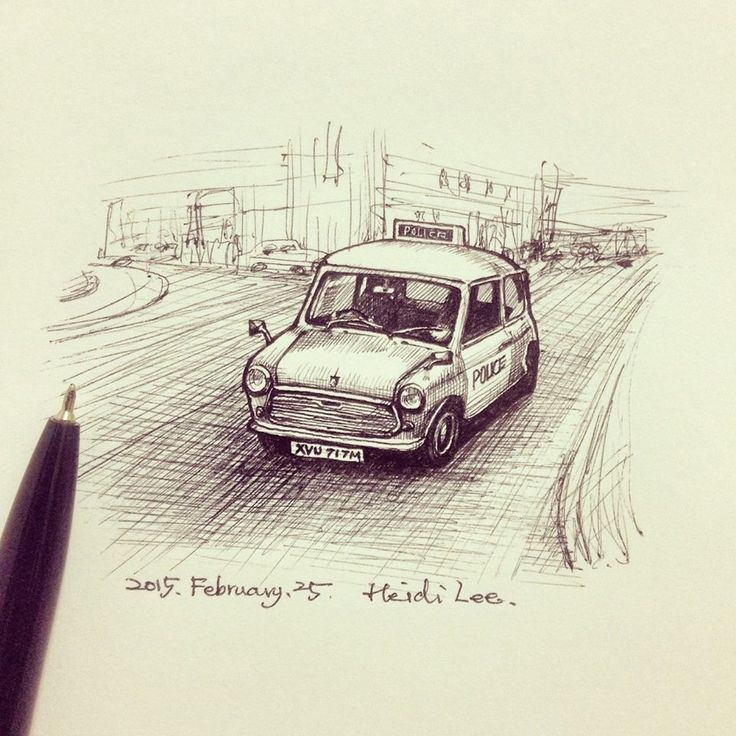 The police car in drawing.