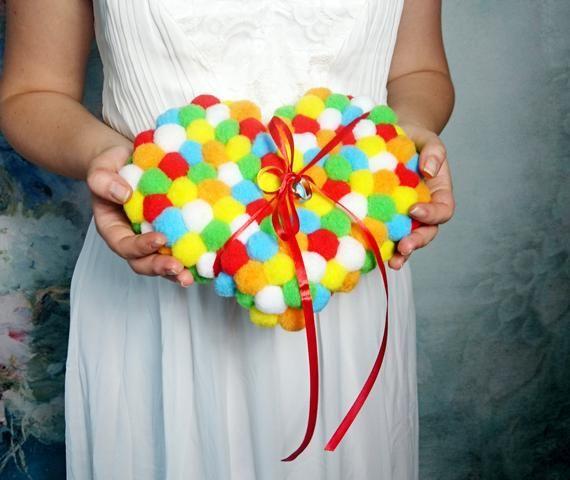 Colorful heart ring bearer Wedding pillow, pompom cushion, funny wedding decor, geek wedding accesso