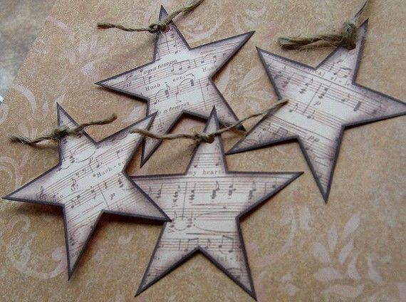 Sheet Music Star Embellishments / Tags  Set of 4  for by pacokeco, $2.25