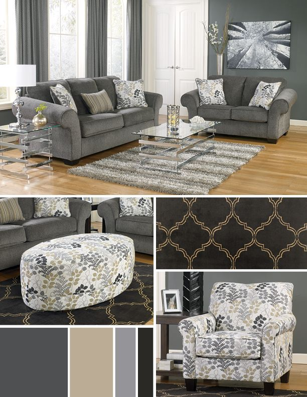 I want this for my living room!: Charcoal Living Rooms, Rooms Ashleyfurnitur, Color, Livingroom, Things