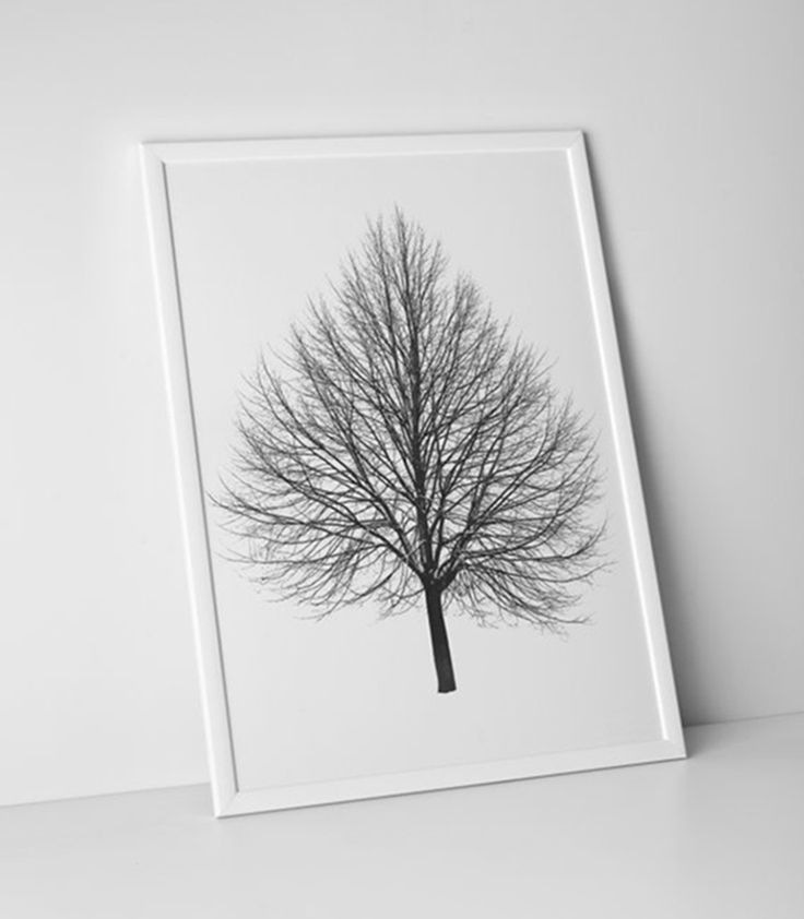 Here's a pretty design by Rain City Design Co from Seattle. The stark but gorgeous shape of the tree needs nothing more than a light white frame.