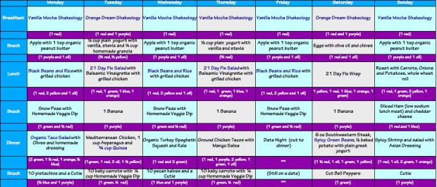 21 Day Fix Meal Plan Weekly 1200 calories calorie