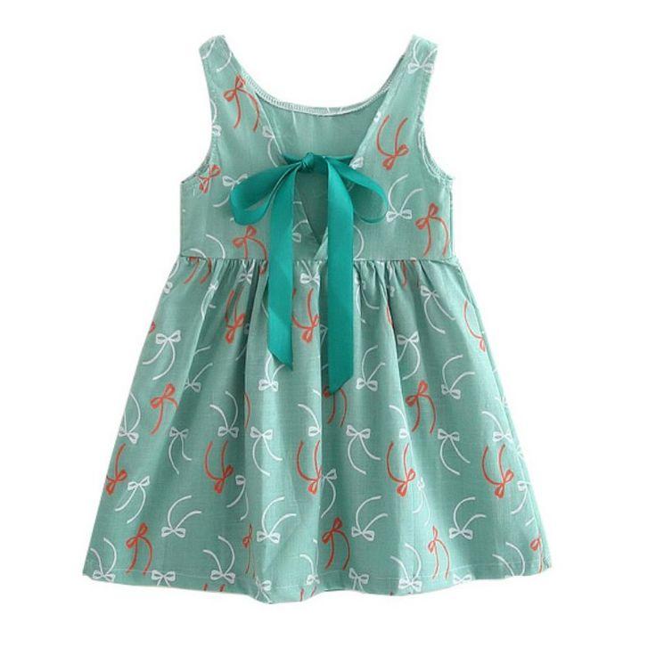 Dzieci dzieciaków Dziewczyny Letnia Sukienka Dzieci Nastolatki Rękawy Druk Wzór bawełny ubraniami Vestidos