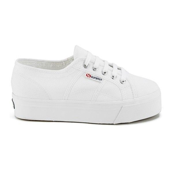 Superga Women's 2790 Linea Up and Down Platform Trainers - White ($77) ❤ liked on Polyvore featuring shoes, sneakers, chaussure, white, canvas platform sneakers, white platform shoes, white trainers, superga and flatform shoes