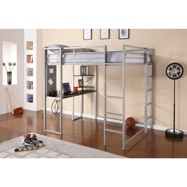 DHP Abode Full Size Metal Loft Bed ($300) ❤ liked on Polyvore featuring home, furniture, beds, storage shelving, metal shelving, metal storage shelving, storage shelves and metal ladder shelf