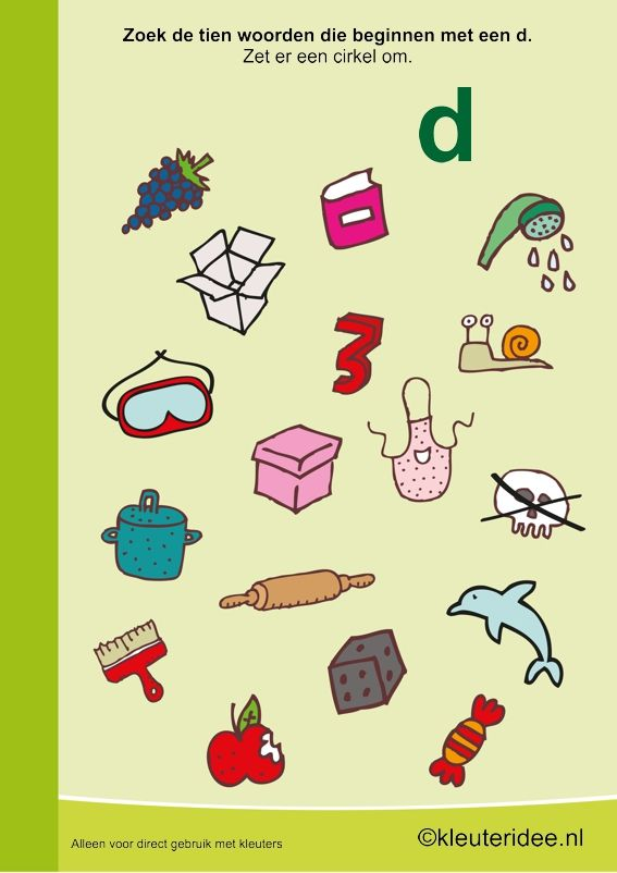 Zoek 10 woorden die beginnen met de d, kleuteridee , taal voor kleuters, free printable.