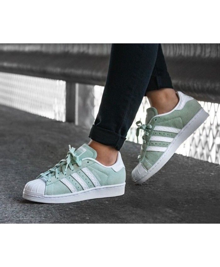 Adidas Superstar Womens Trainers In Ice Mint