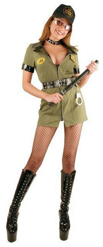Border Patrol Officer Police Cop Green Dress Up Halloween Sexy Adult Costume