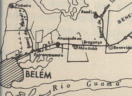 Primeiro trecho inaugurado da E. F. de Bragança, entre Belém e Benevides, em 1884 - o mapa é de 1908. Notar a posição de Ananindeua (Revista Brasileira de Geografia, jul-set 1961).