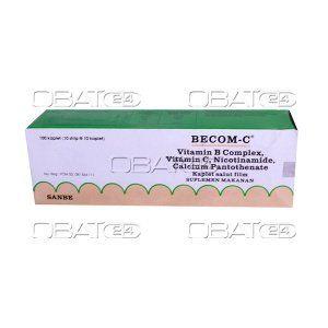 BECOM C TAB  Komposisi : Vitamin B1 50mg, Vit B2 25mg, Vit B6 10 mg, Vit B12 5 mcg, Calcium Pantotenate 18,4 mg, Nicotinamide (Vit B3) 100 mg, Vit C 500 mg. Pabrik : Caprifarmindo Labs