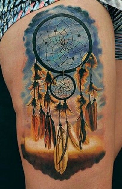 Color dream catcher thigh tattoo ink inked tats @tattoo_artwork