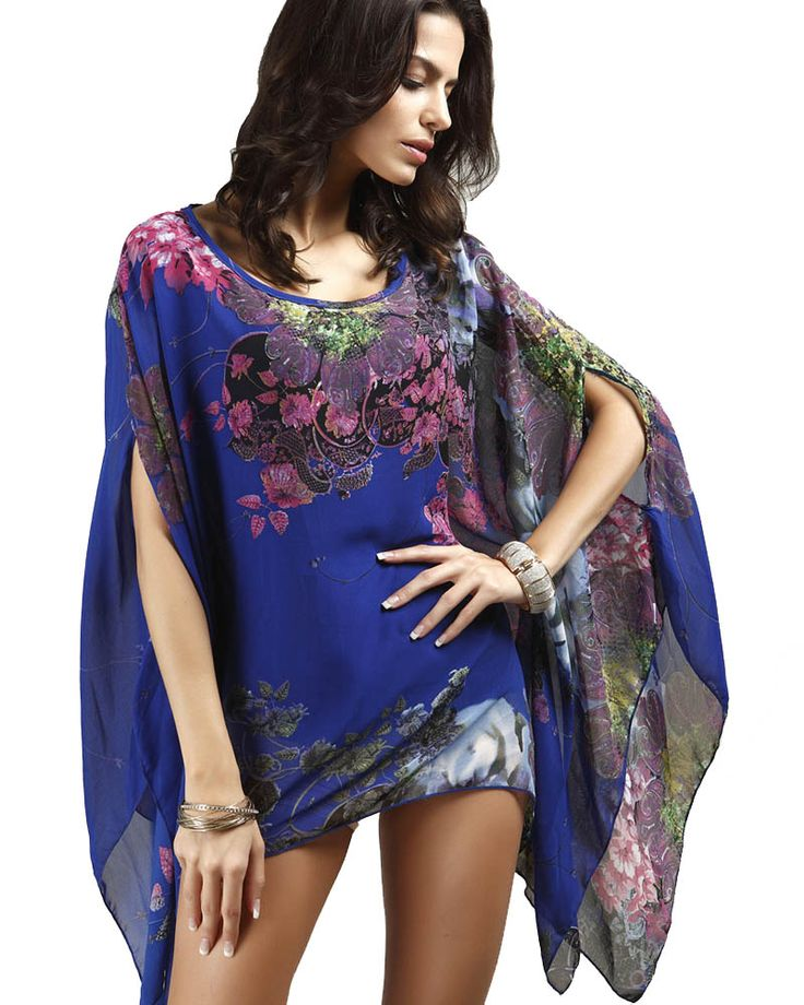 Sexy Swimsuit Cover Ups Woman Beach Tops Sarong Wrap Skirt Chiffon Floral Prints Beachwear Tunic Coverup
