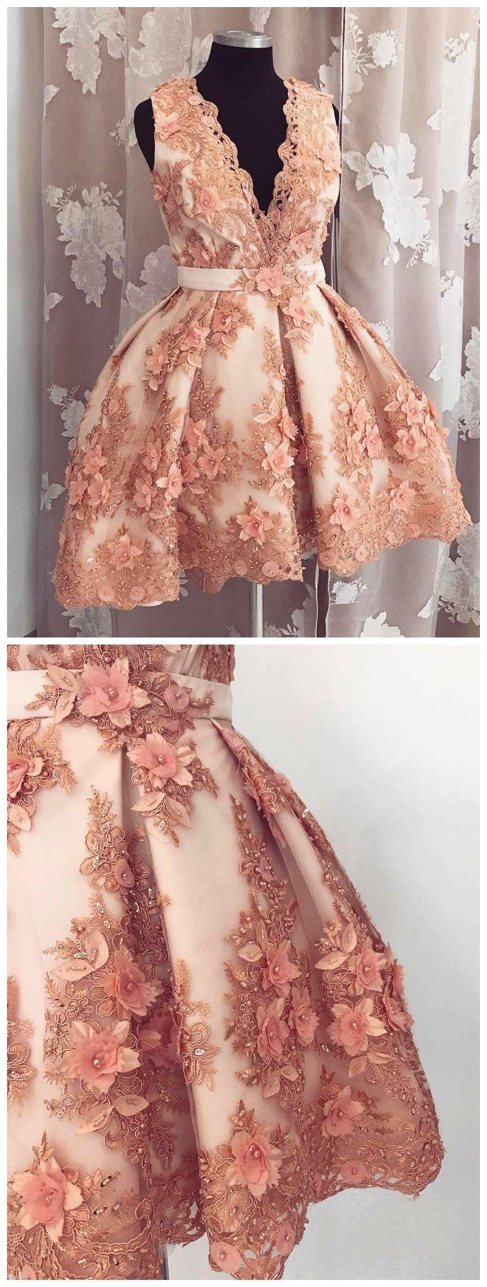 A-LINE V-NECK HOMECOMING DRESS PEARL PINK TULLE SHORT PROM DRESS SKA111