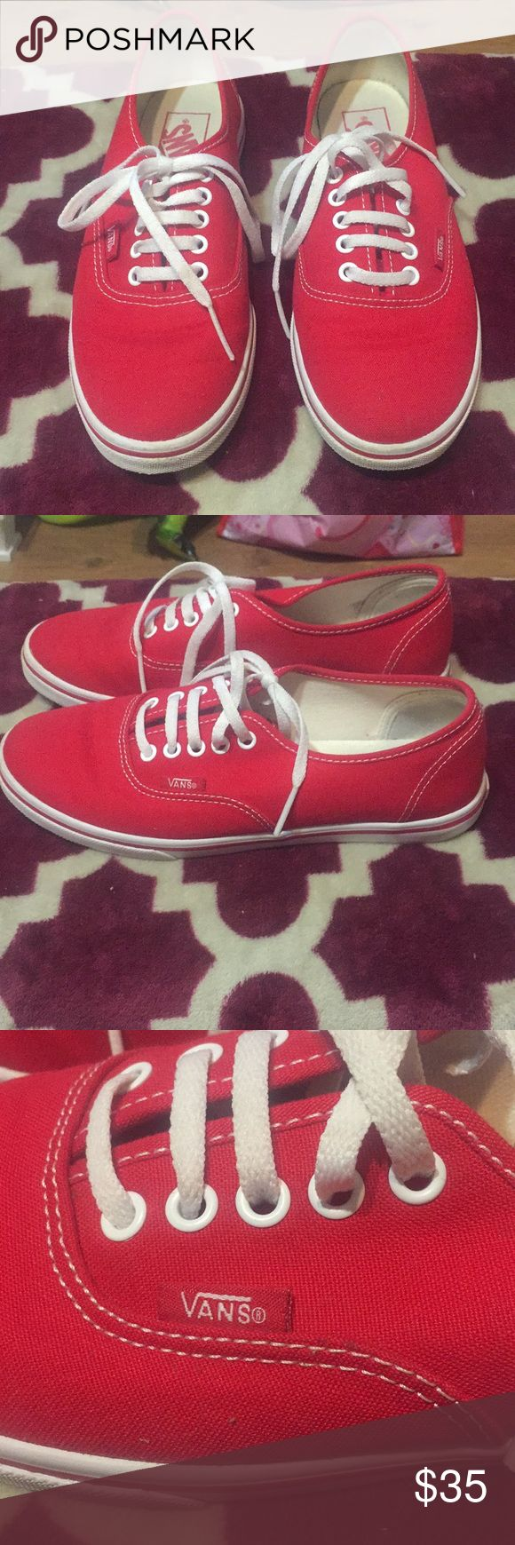 ***MAKE AN OFFER***Authentic Red Vans Authentic Red Vans Look brand new, worn maybe 2-3 times. Great shape.  Still have box that they came in. Vans Shoes Sneakers