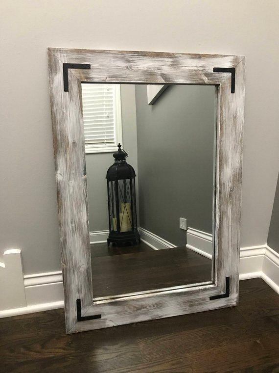 333bfbbdda WHITEWASH Mirror Wood Frame Mirror Rustic Wood Mirror