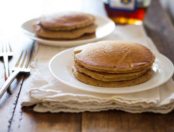Solid whole wheat pancakes. I got 4 large, very substantial pancakes and 2 small test pancakes out of this. Very airy and fluffy, not cakey. Not my ideal pancake, but pretty good.