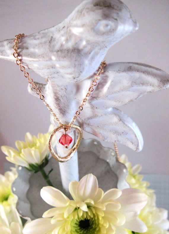 Gold Textured Oval Pendant Necklace with Coral by SweetandPretty
