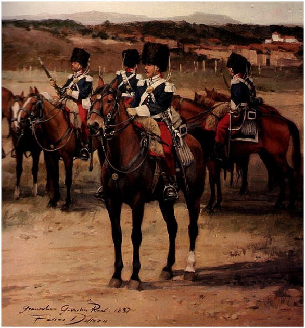 División de Caballería de la Guardia Real de Fernando VII  Obra de Augusto Ferrer-Dalmau