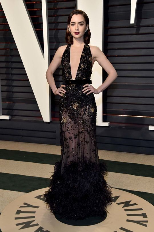 Vanity Fair Oscars party 2017: the red carpet: Lily Collins in Elie Saab couture