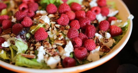 Raspberry salad:  So good!  Made it with honey goat cheese and a raspberry poppyseed dressing (also pinned).  Really delicious and easy