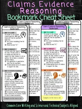 Arguing from Evidence: Claims Evidence Reasoning Science Bookmarks Cheat Sheet