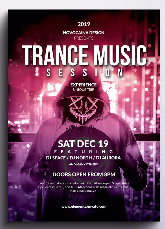 Trance Music Event Flyer & Poster Template PSD  Download