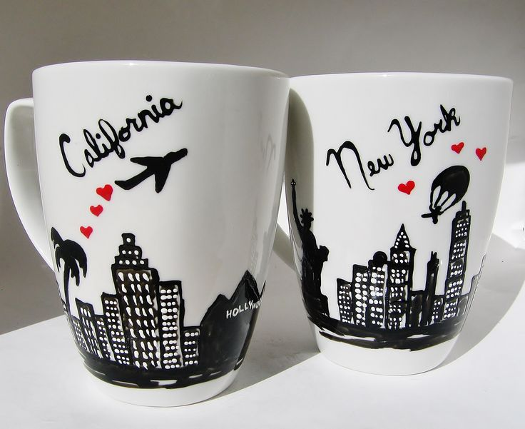 California and New York Skyline Coffee Mug - Long Distance Relationship Gift ideas