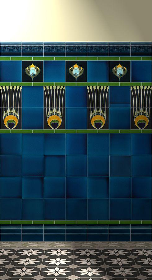 Verlegebeispiel F 19b V1, verlegebeispiel, f, 19b, v1, jugendstilfliesen, verlegebeispiele, wandfliesen, dekorfliesen