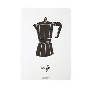 Postkaart Cafe , Zwart, medium